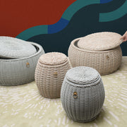 WEAVE Weatherproof Pouf with Storage - Grey - SCENE SHANG