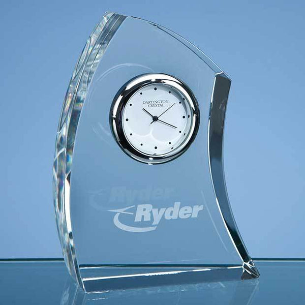C98P -   11cm Dartington Crystal Crescent Clock - (Fully Engraved)