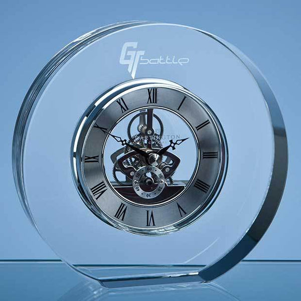 C99P -   15cm Dartington Crystal Round Clock - (Fully Engraved)