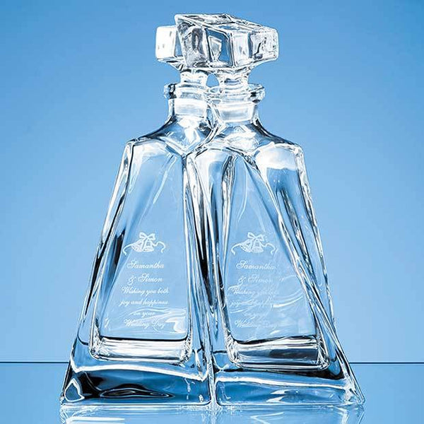 CB10P -   1pr of 0.5ltr Crystalite Lovers Decanters - (Fully Engraved)