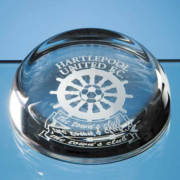 CB1P -   8.8cm Optical Crystal Flat Top Dome Paperweight - (Fully Engraved)
