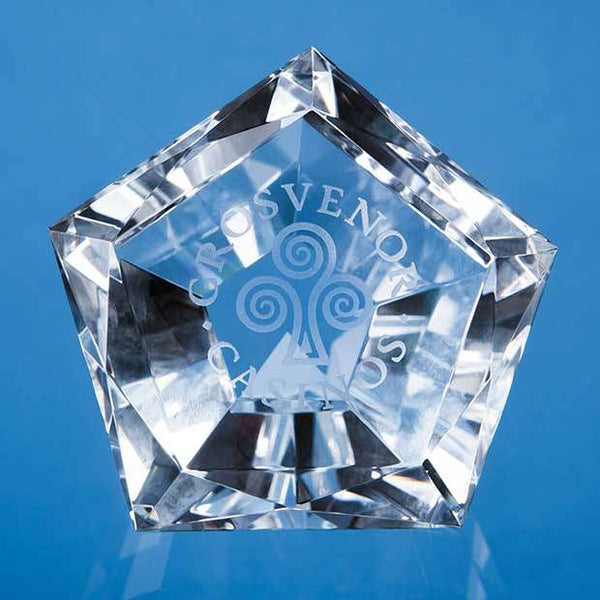 CS1070P -   6cm Optical Crystal Facet Pentagon Paperweight - (Fully Engraved)