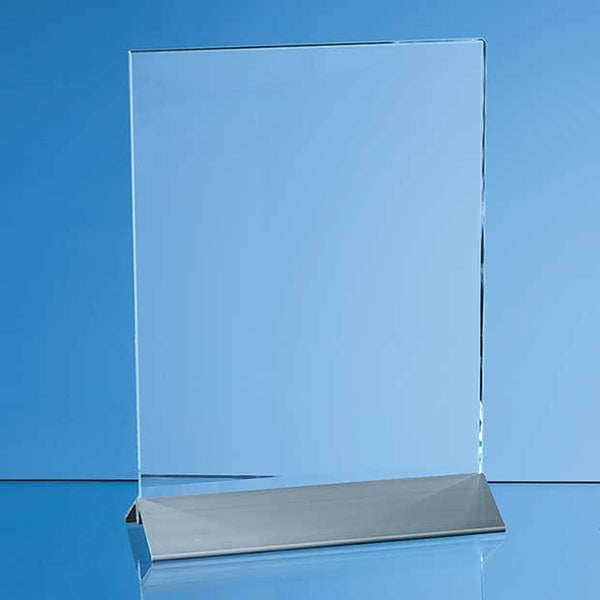 DG04P -   15cm x 10cm x 6mm Clear Glass Rectangle on an Aluminium Base - (Fully Engraved)