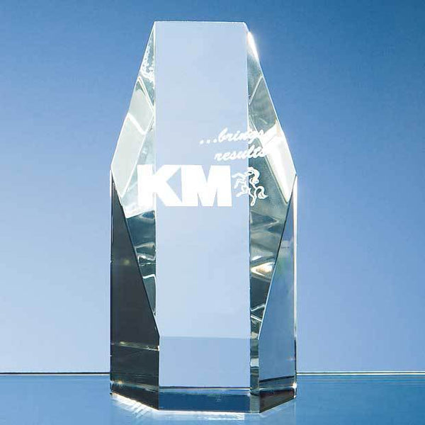 DY15P -   12.5cm Optical Crystal Hexagon Award - (Fully Engraved)