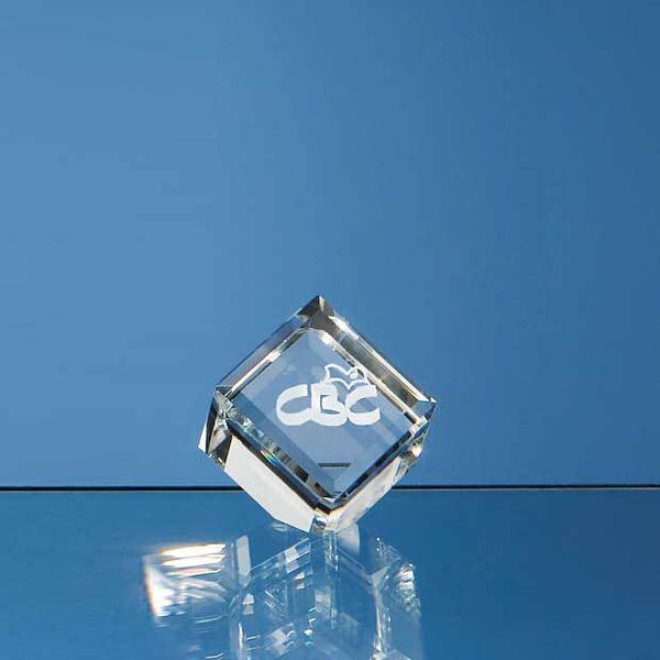 DY1P -   4cm Optical Crystal Bevel Edged Cube - (Fully Engraved)