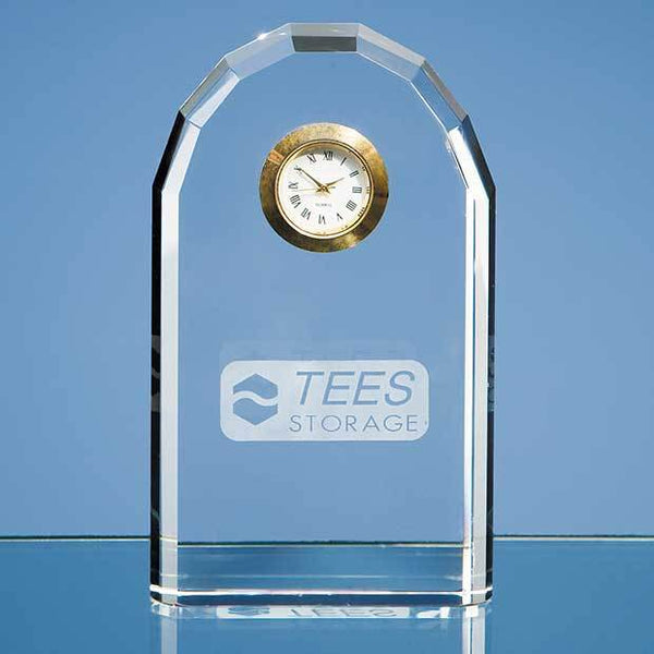 DY22P -   13cm Optical Crystal Bevelled Arch Clock - (Fully Engraved)