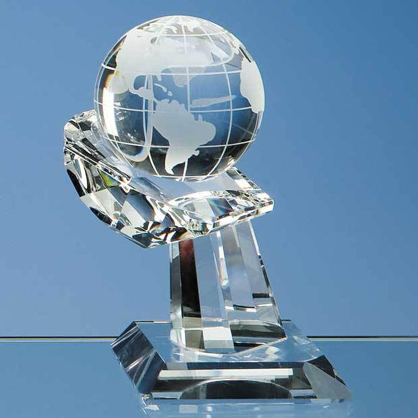 DY29P -   6cm Optical Crystal Globe on Mounted Hand Award - (Fully Engraved)