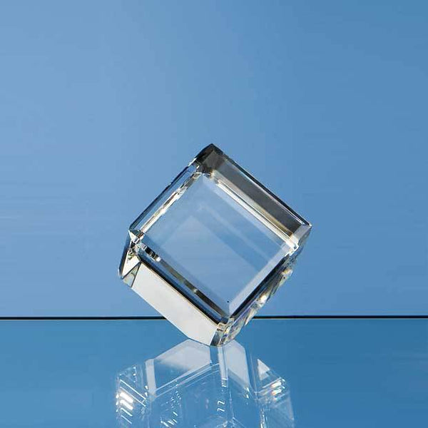 DY2P -   5cm Optical Crystal Bevel Edged Cube - (Fully Engraved)