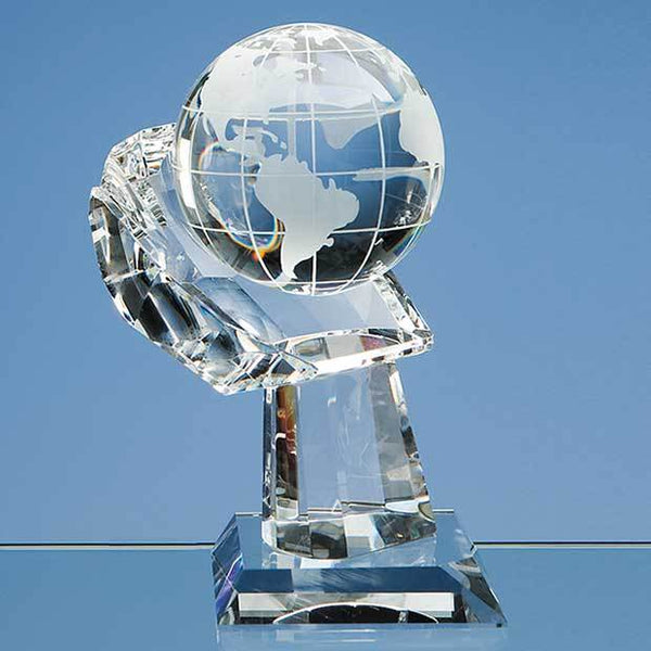DY30P -   8cm Optical Crystal Globe on Mounted Hand Award - (Fully Engraved)