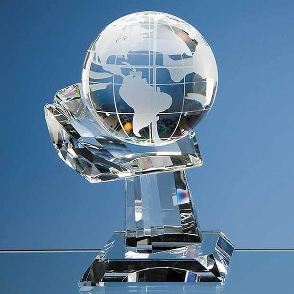 DY31P -   10cm Optical Crystal Globe on Mounted Hand Award - (Fully Engraved)