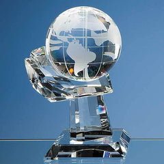 10cm Optical Crystal Globe on Mounted Hand Award