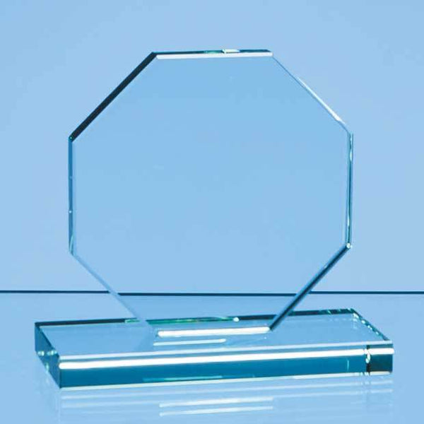 DY33P -   10cm x 10cm x 12mm Jade Glass Octagon Award - (Fully Engraved)