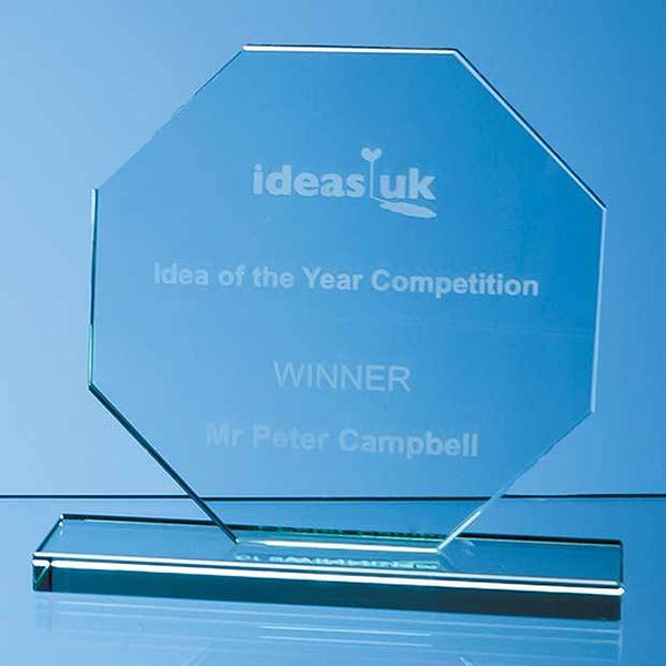 DY34P -   15cm x 15cm x 12mm Jade Glass Octagon Award - (Fully Engraved)