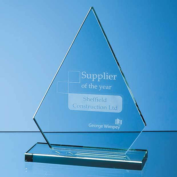 DY36P -   19cm x 15cm x 12mm Jade Glass Peak Award - (Fully Engraved)