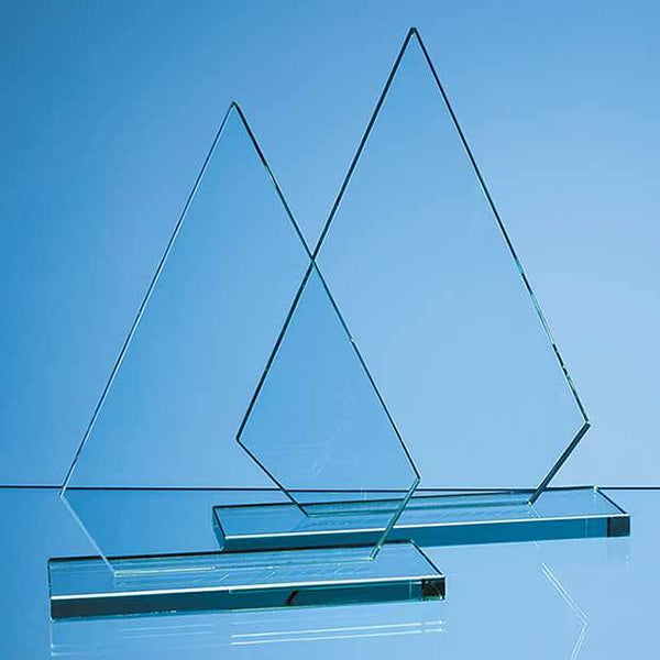 DY38P -   26.5cm x 18.5cm x 12mm Jade Glass Peak Award - (Fully Engraved)