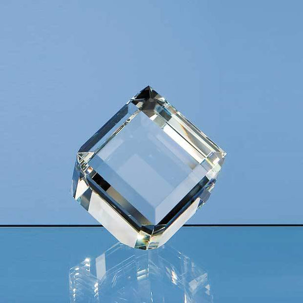 DY3P -   6cm Optical Crystal Bevel Edged Cube - (Fully Engraved)