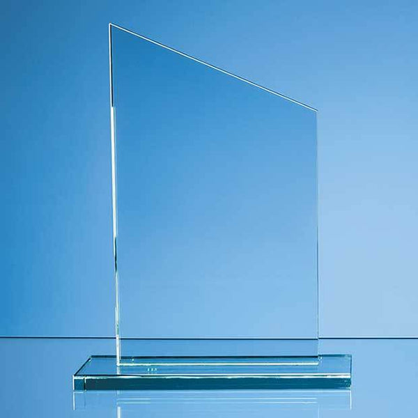 DY43P -   25cm x 15cm x 12mm Jade Glass Slope Award - (Fully Engraved)