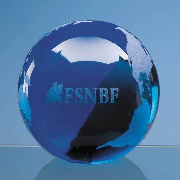 DY5P -   7cm Sapphire Blue Optical Crystal Globe Paperweight - (Fully Engraved)
