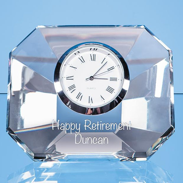 EUR100P -   8.5cm Optical Crystal Wedge Clock - (Fully Engraved)