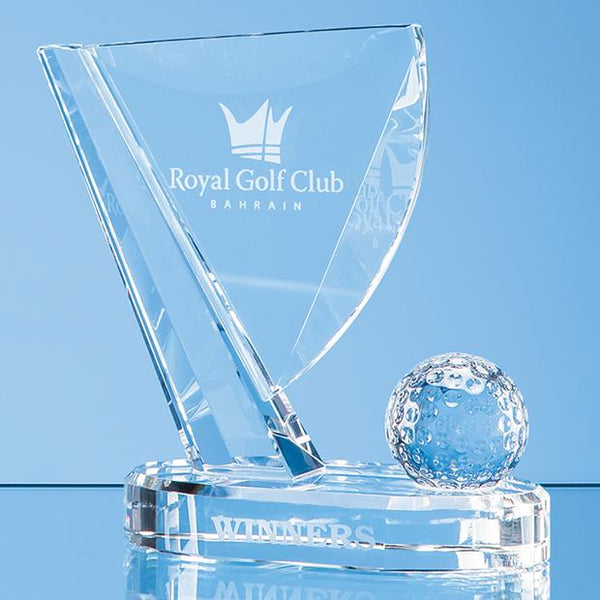EUR102P -   18cm Optical Crystal Golf Ball & Flag Award - (Fully Engraved)