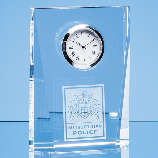 11.5cm Optical Crystal Bevelled Rectangle Clock