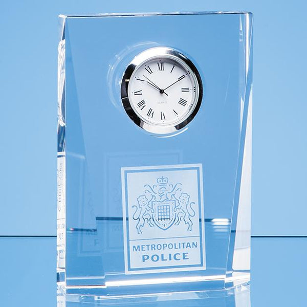 EUR104P -   11.5cm Optical Crystal Bevelled Rectangle Clock - (Fully Engraved)