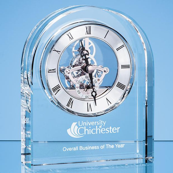 EUR106P -   14.5cm Optical Crystal Arched Clock - (Fully Engraved)
