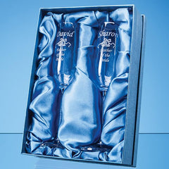 2 Crystal Champagne Flutes with Diamante Filled Stems in a Satin Lined Gift Box