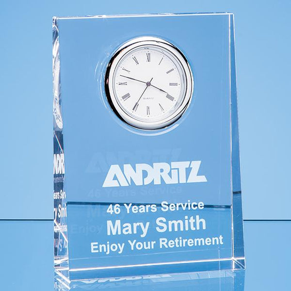 EUR109P -   12cm Optical Crystal Tapered Rectangle Clock - (Fully Engraved)