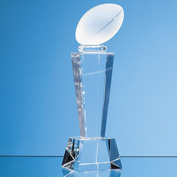 EUR121P -   18cm Optical Crystal Rugby Ball Column Award - (Fully Engraved)