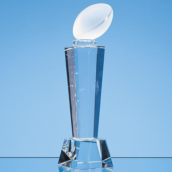 EUR122P -   21cm Optical Crystal Rugby Ball Column Award - (Fully Engraved)