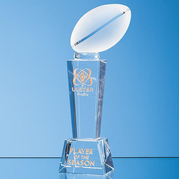 EUR123P -   24cm Optical Crystal Rugby Ball Column Award - (Fully Engraved)