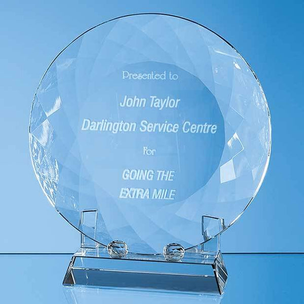 EUR13P -   18cm Optical Crystal Facet Plate with Stand - (Fully Engraved)