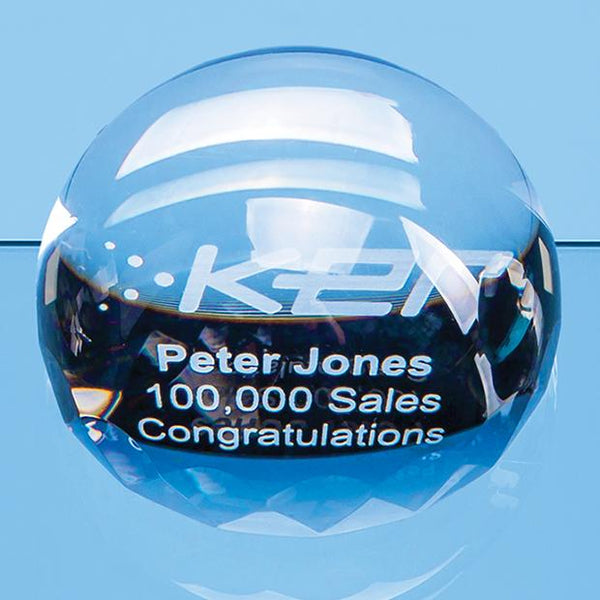 EUR158P -   9cm Optical Crystal Facet Edged Dome Paperweight - (Fully Engraved)