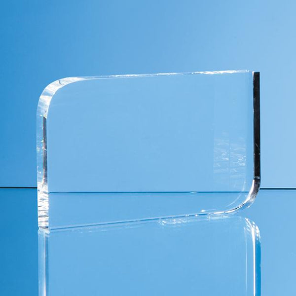 EUR160P -   8.5cm x 12cm Optical Crystal Curved Rectangle Award - (Fully Engraved)