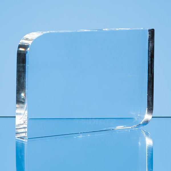 EUR161P -   9cm x 15cm Optical Crystal Curved Rectangle Award - (Fully Engraved)