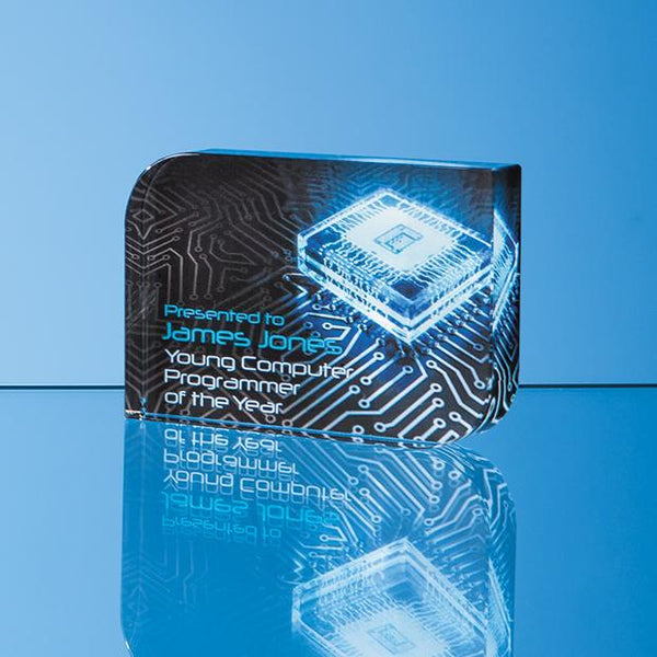 EUR162P -   12cm x 17.5cm Optical Crystal Curved Rectangle Award - (Fully Engraved)