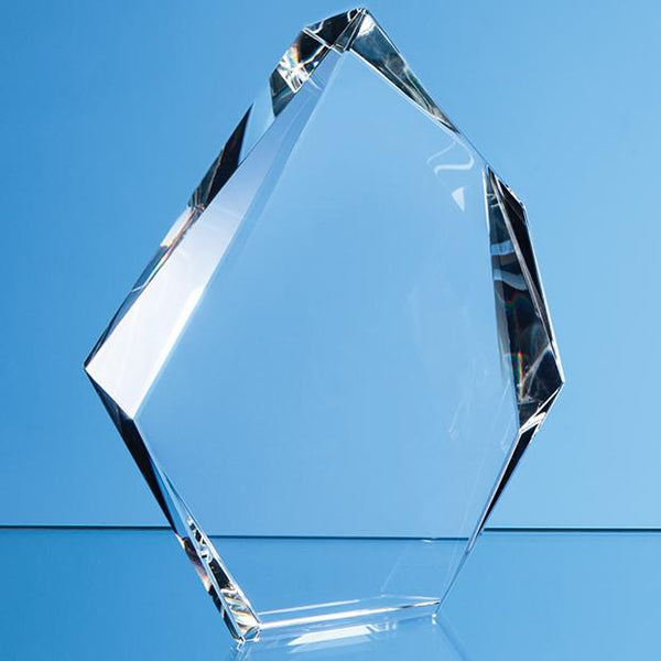 EUR164P -   15cm Optical Crystal Facetted Ice Peak Award - (Fully Engraved)