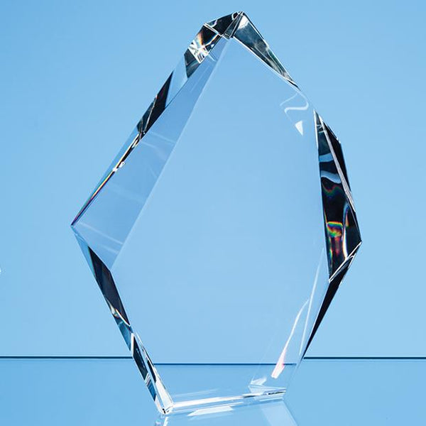 EUR165P -   18cm Optical Crystal Facetted Ice Peak Award - (Fully Engraved)
