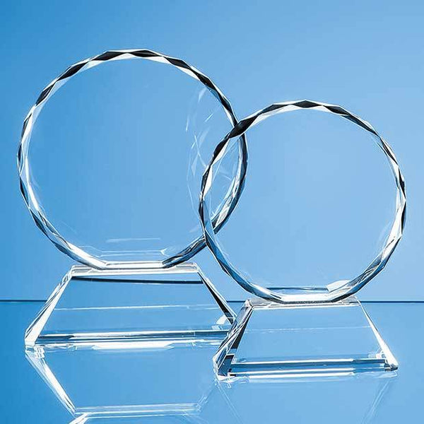 EUR17P -   13cm Optical Crystal Mounted Facet Circle Award - (Fully Engraved)