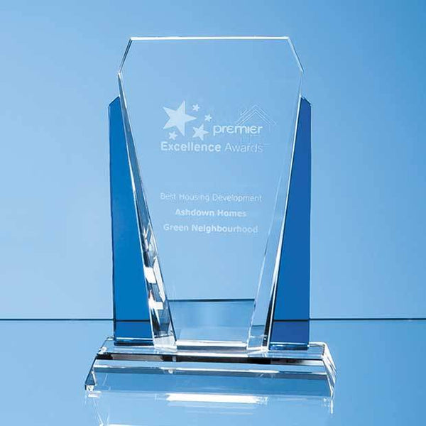 EUR18P -   17.5cm Clear & Sapphire Blue Optical Crystal Sentinel Award - (Fully Engraved)