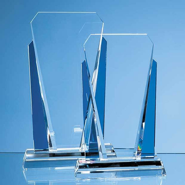 EUR20P -   25cm Clear & Sapphire Blue Optical Crystal Sentinel Award - (Fully Engraved)
