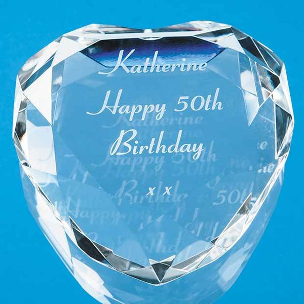 EUR27P -   8cm Optical Crystal Clear Flat Facet Heart Paperweight - (Fully Engraved)