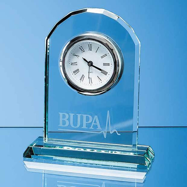 EUR28P -   15cm Jade Glass Arch Clock - (Fully Engraved)