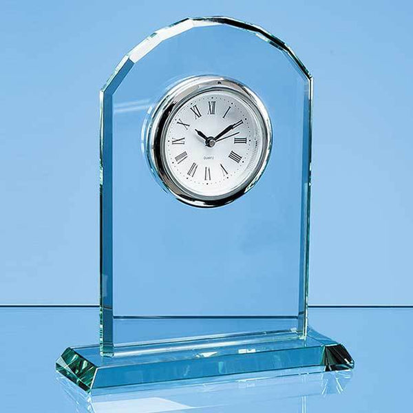 EUR29P -   17cm Jade Glass Arch Clock - (Fully Engraved)