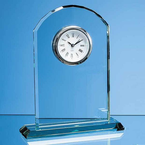 EUR30P -   19.5cm Jade Glass Arch Clock - (Fully Engraved)