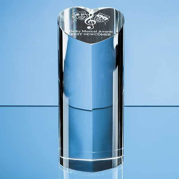 EUR34P -   18cm Optical Crystal Heart Column Award - (Fully Engraved)