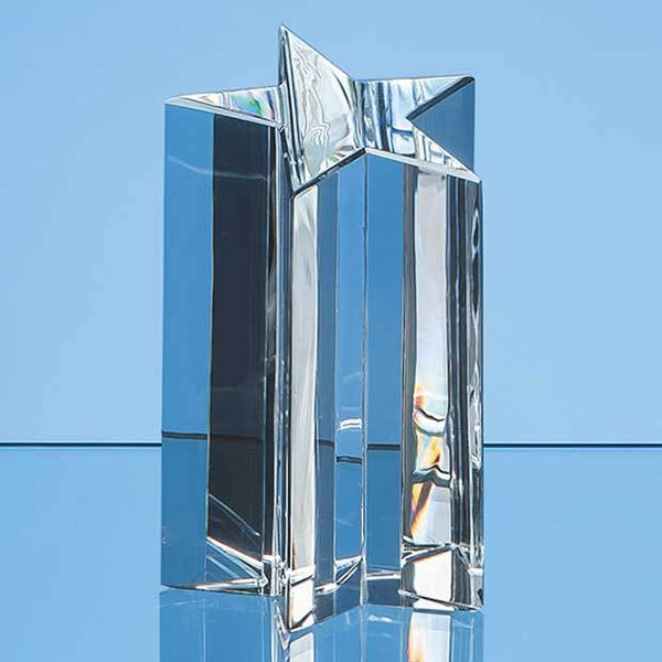 EUR36P -   16cm Optical Crystal 5 Pointed Star Column Award - (Fully Engraved)