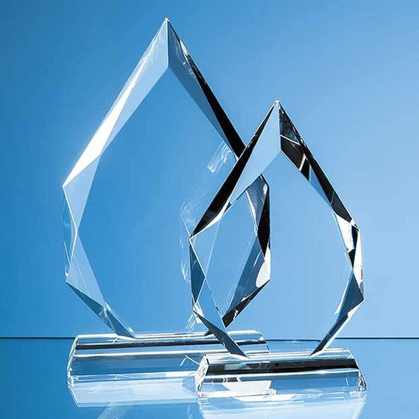 EUR45P -   20cm x 13cm x 20mm Clear Glass Facetted Diamond Peak Award - (Fully Engraved)