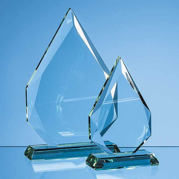EUR46P -   15cm x 10.5cm x 19mm Jade Glass Facetted Diamond Peak Award - (Fully Engraved)